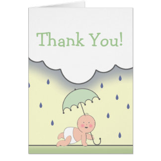 Green Baby Shower Thank You Card