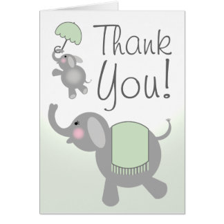 Green Baby Shower Thank You Card - Elephants