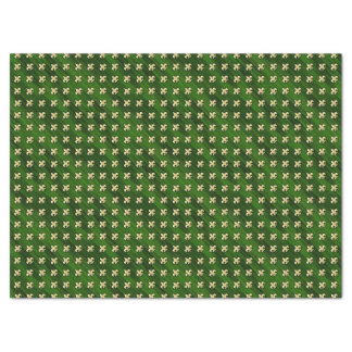Green Background with Gold Fleur de Lis Tissue Paper