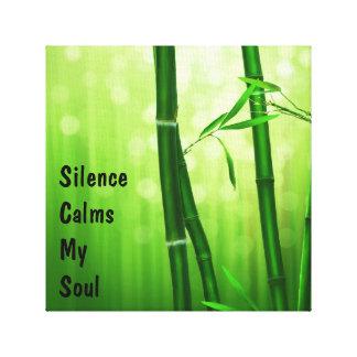Green Bamboo - Silence Calms My Soul Canvas Print