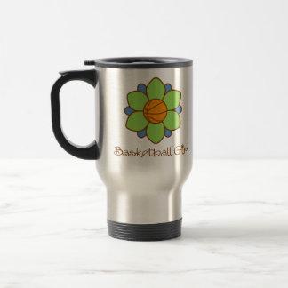 Green Basketball Girl Stainless Steel Travel Mug