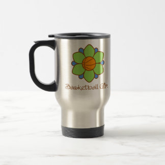 Green Basketball Girl 15 Oz Stainless Steel Travel Mug