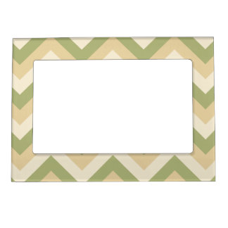 Green Beige Wedding Colors Modern Chevron Pattern Picture Frame Magnets