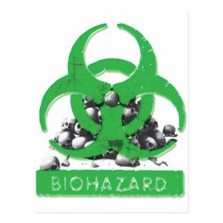 Green Bio Hazard and Skull Pile Postcard
