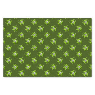 Green Biohazard Skull Pattern Tissue Paper