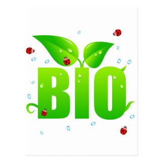 Green biologic organic natural postcard