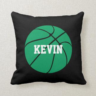 Green & Black Basketball Custom Text Throw Pillow