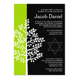 Green Black Tree of Life Bar Mitzvah Invitations
