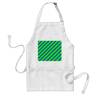 Green Blue Angled Stripes Abstract Standard Apron