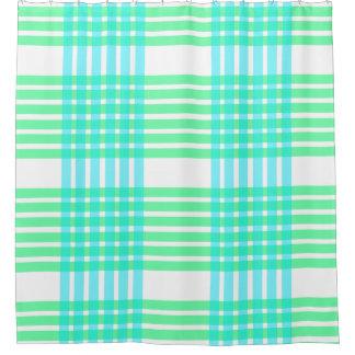 Green Blue Aqua Lines pattern tiles Shower curtain