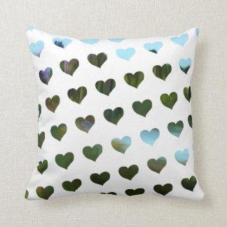green/blue hearts pattern cushions