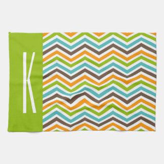 Green, Blue, Orange, & Brown Chevron Stripes Towels