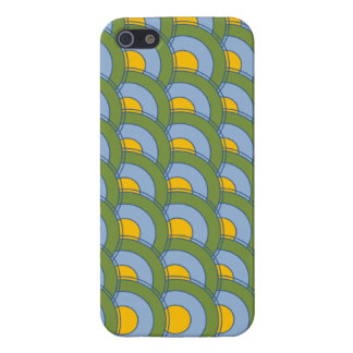 GREEN BLUE YELLOW CONCENTRIC CIRCLES iPhone 5/5S COVER