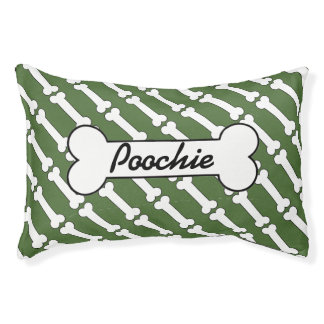 Green bones personalized dog bed