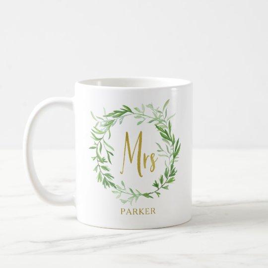 Green Botanical Leaves Wreath | Faux Gold Mrs Coffee Mug