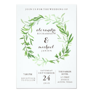 Green Botanical Leaves Wreath Wedding Card