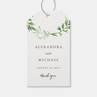 Green Botanical Leaves Wreath Wedding Favor Gift Tags