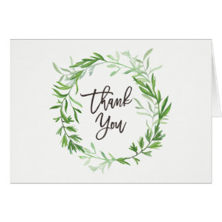 Green Botanical Leaves Wreath Wedding Thank You Card