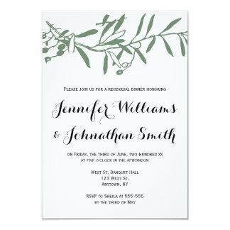Green branch rehearsal dinner invitations