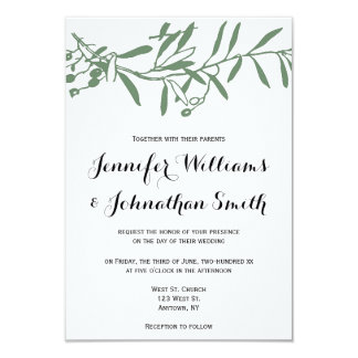 Green branch wedding invitations