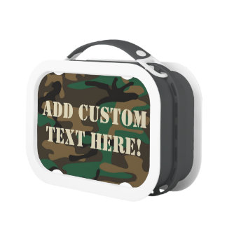 Green Brown Military Camo Camouflage Lunch Boxes