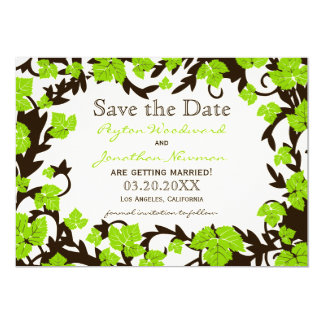 Green Brown Spring Leaves Save the Date Card