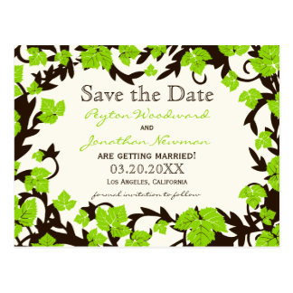 Green Brown Spring Leaves Save the Date Postcard