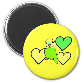 Green Budgie with Hearts 6 Cm Round Magnet