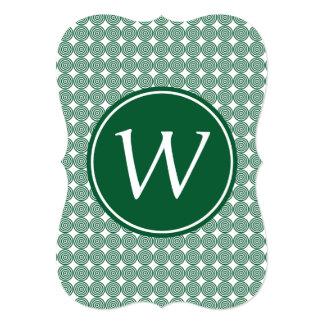 Green Bullseye Monogrammed white type Card