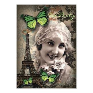Green Butterfly Vintage Girl Paris Eiffel Tower Card