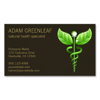 Green Caduceus Alternative Medicine Magnet Magnetic Business Cards