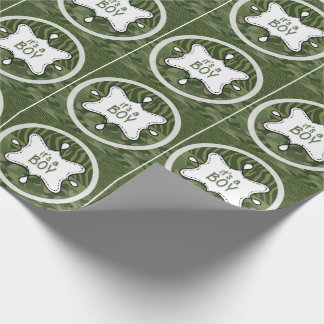 Green Camo Boy Baby Shower Wrapping Paper