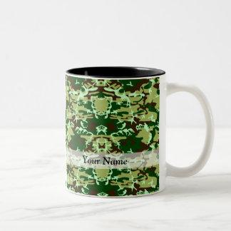 Green camo Two-Tone coffee mug