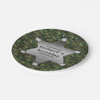 Green Camouflage Pattern Sheriff Badge Birthday 7 Inch Paper Plate