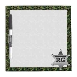 Green Camouflage Pattern Sheriff Badge Monogram 2 Dry Erase Board