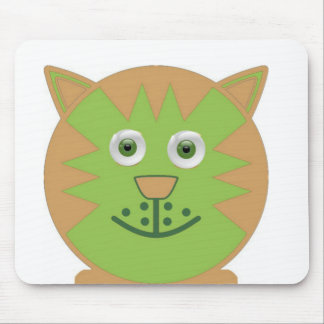 Green  Cartoon Cat Mouse Pad
