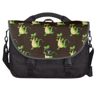 Green Cartoon Dragon Pattern Commuter Bag