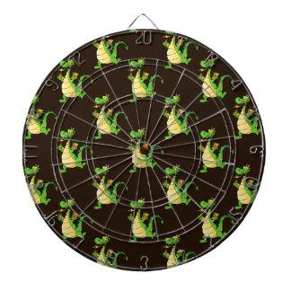 Green Cartoon Dragon Pattern Dartboard With Darts