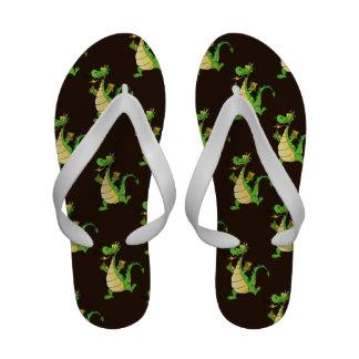 Green Cartoon Dragon Pattern Flip Flops