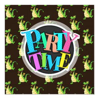 Green Cartoon Dragon Pattern Custom Invites