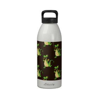 Green Cartoon Dragon Pattern Water Bottle