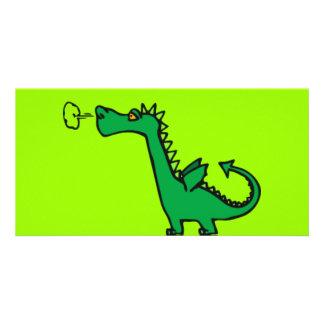 Green Cartoon Dragon Photo Card