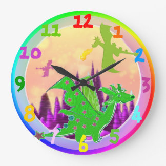 Green Cartoon Dragon Rainbow Color Clock