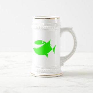Green Cartoon Fish Beer Steins