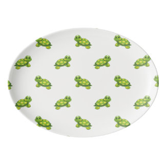Green Cartoon Turtle with Yellow Dots Pattern Porcelain Serving Platter