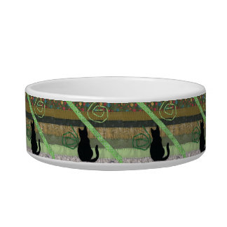 Green Cat Days Cat Water Bowl