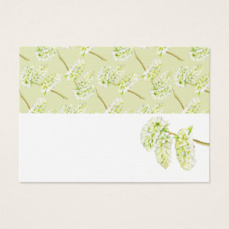 Green catkins watercolor name place cards