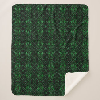 Green Chain Link Fence Face Sherpa Blanket