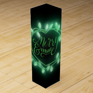 Green Chalk Drawn Merry and Bright Holiday Wine Gift Box