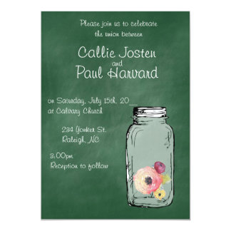 Green Chalkboard Mason Wedding or Party Invitation